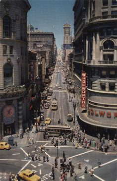 Powell Street San Francisco as seen on this vintage postcard~ San Francisco City, San Francisco California, California Dreamin', Places To Travel, Places To See, Lac Tahoe, Powell Street, Voyage Usa, Nova Orleans