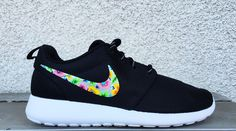 Nike roshe custom floral for women, hawaii theme custom roshe, bright and fun colors for the summer, black and white Nike roshe run, hand painted