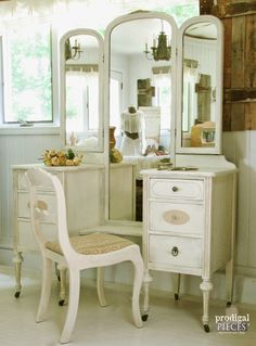 DIY :: How to Repair Thrift Store Furniture with Polymer Clay by Prodigal Pieces… Thrift Store Furniture, Repurposed Furniture, Vintage Furniture, Painted Furniture, Refinished Furniture, Shabby Chic Dressing Table, Dressing Table Vanity, Vanity Tables, Dressing Tables