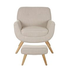 Dunelm Skandi Natural Armchair and Footstool Nursery Armchair, Upholstered Footstool, Stylish Chairs, Occasional Chairs, Bedroom Furniture, House Furniture, Natural, Living Room, Kitchen Living