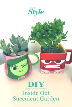 Get your head in the game with this Inside Out succulent garden. Disney Diy, Disney Crafts, Disney Magic, Disney Ideas, Style Disney, Disney Garden, Disney Fanatic, Disney Coloring Pages, Fun Cupcakes