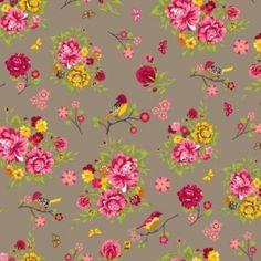Tissu en coton à fleur rose, jaune et vert sur fond brun