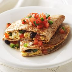 Southwest Breakfast Quesadilla---I might add a small bit of turkey sausage or ham to this...but it still looks delicious and carbohydrate-friendly (Diabetic-friendly)