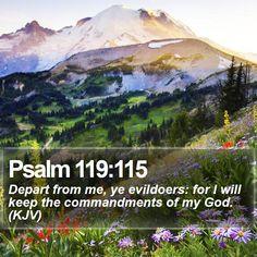 Psalm 119:115 Depart from me, ye evildoers: for I will keep the commandments of my God. (KJV)  #Discipleship #Wisdom #JesusChrist #WordOfGod http://www.bible-sms.com/