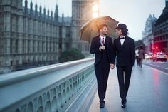 I shot my first gay-centric romantic photo in London with two men, an umbrella, and an iconic bridge.