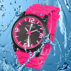 FW848J Black Dial Silicone Magenta Band Men Women 100% Tested 3ATM Fashion Watch