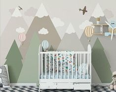 Geometric Mountains Nursery Kids Children Wallpaper Wall Mural, Triangle Mountains with Clouds Hot Air Balloons Kids Children Wall Mural – Boy Room 2020 Baby Bedroom, Baby Boy Rooms, Baby Room Decor, Kids Bedroom, Nursery Decor, Bedroom Sets, Mountain Mural, Mountain Nursery, Kids Wallpaper