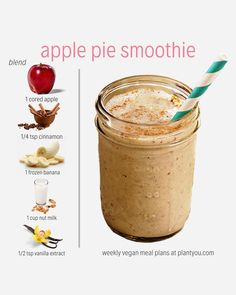 It's like a warm fall hug, and now you can have it in smoothie form. 😉Simply combine all these ingredients in a blender and… Vegan Smoothie Recipes, Apple Pie Smoothie, Vegan Recipes, Cooking Recipes, Smoothie Diet, Healthy Blender Recipes, Strawberry Banana Smoothie, Protein Shake Recipes, Pie Recipes