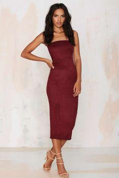 Lexia Strapless Midi Dress - Burgundy | Shop Clothes at Nasty Gal!