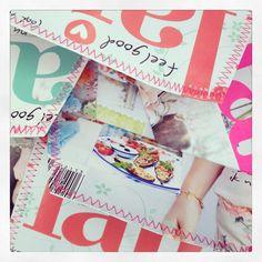 Zelfgemaakte enveloppen: bladzijde van magazine afscheuren, envelopje naar eigen grote vouwen en onder naaimachine vast stikken. Zooooo leuk en simpel.