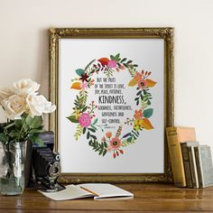 Printable Quote Bible Verse Floral Sign Galatians 5:22-23 Fruit of the Spirit Feathers Christian Print Digital Art INSTANT DOWNLOAD 5x7 8x10 by PrintableVerses on Etsy https://www.etsy.com/listing/215997109/printable-quote-bible-verse-floral-sign
