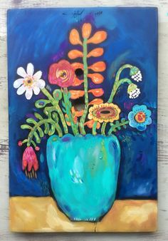 Pintura de flores de arte popular en madera recuperada