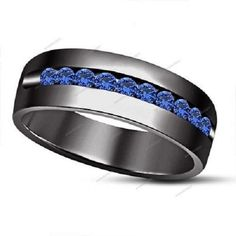Created Blue Sapphire 14k Black Gold FN 925 Silver Men's Weddding Band Ring #aonedesigns #MensWeddingBandRing