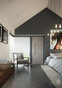 Annabelle Tugby Architects // bedroom in a pitched roof single storey new build house with a corner window. Visual by Matt Clayton. Roof Design, House Design, Roofing Options, Modern Roofing, Roof Styles, Patio Roof, Pergola Roof, Diy Pergola, Pergola Ideas