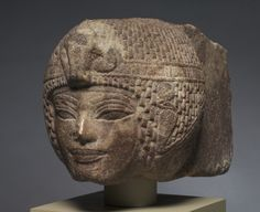 Head of Amenhotep III Wearing the Round Wig - New Kingdom, Dynasty 18, reign of Amenhotep III, 1391-1353 BC - brown quartzite