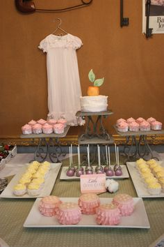 Southern baby shower dessert and buffet table