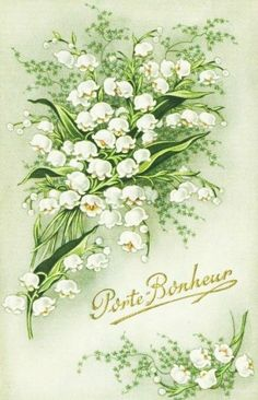 Lily of the valley * Muguet * 1 er mai Vintage Pictures, Vintage Images, Vintage Easter, Vintage Greeting Cards, Lily Of The Valley, Vintage Flowers, Vintage Postcards, Vintage Prints, Beautiful Flowers