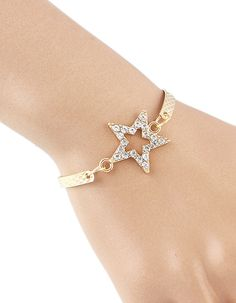 Cheap Simple Style Rhinestone Star Gold Plated Chain Bracelet 4.09