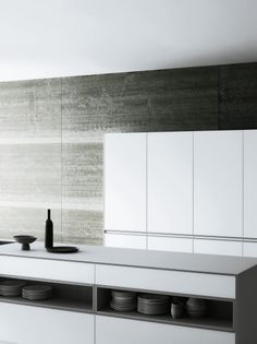 | KITCHENS | love the stone wall and simple yet crisp detailing. Photo Credit: Vetronica kitchen by Meson's #kitchens