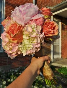 pink peonies, pink finesse roses, pink hydrangea