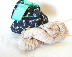 100% cotton Japanese knot bag dragonfly fabric  | Knitting project bag | bridesmaid purse | cosmetic bag