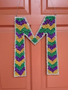 Personalized Mardi Gras Bead Letter Door Sign New Orleans Louisiana on Etsy, $50.00