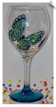 Iridescent Butterfly Wine Glass