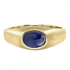 East-West Oval Cut Blue Lapis Yellow Gold Pinky Ring For Men Gemologica.com offers a unique selection of mens gemstone and birthstone rings crafted in sterling silver and 10K, 14K and 18K yellow, white and rose gold. We have cool styles including wedding and engagement rings, fashion rings, designer rings, simple stone and promise rings. Our complete jewelry collection of gemstone rings for men can be seen here: www.gemologica.com/mens-gemstone-rings-c-28_46_64.html