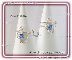 """Anello con iniziale """"E-J"""" Wire in Argento 925‰ e Swarovski  / Ring Initial """"E-J"""" Wire Silver 925‰ with Swarovski"""