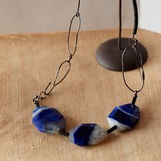 Blue agate necklace with handmade oxidized silver chain, elegant statement necklace by LunicaDesignJewelry on Etsy