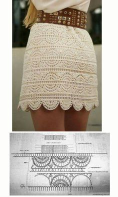 Falda a ganchillo con gráfico.crochet skirt short white