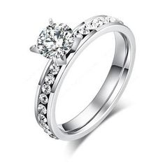 Stainless Steel Prong-Set Round Circle Geometric Fancy Ring with Baguette Clear CZ