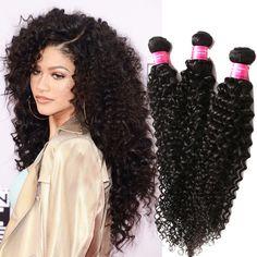 "150g Black Human Hair Extension Afro Curly Hair Weft 10""12""14"" 3Bundles Haar #WIGISS #HairExtension"