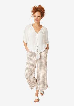 Gingham Crop Pants,
