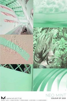 Neo Mint is one colour of 2020, decided by WGSN. Moodboard for fashion, activewear or interior. Coloro, Pantone, colour inspiration to design fashion collections. Trend forecasting mood board with design, art and photography. #neomint #colouroftheyear #moodboard #fashioncollage #fashion2020 #trends2020 #fashionforecast #wgsn