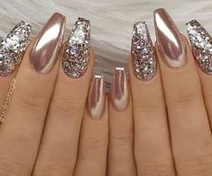 24 Stunning Glitter Nail Art Designs That You Will Love to Try; Nails 24 Stunning Glitter Nail Art Designs That You Will Love to Try Fall Nail Designs, Cute Nail Designs, Acrylic Nail Designs, Chrome Nails Designs, New Years Nail Designs, New Year's Nails, Hair And Nails, Gel Nails, Manicures