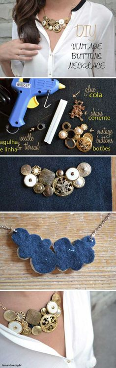 Colar Vintage - como fazer - DIY