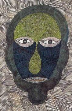 Scottie Wilson :'Self-Portrait Head' - c.1946, ink and watercolour, 13 x 8.5 ins