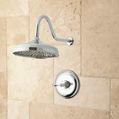 The Bostonian Rainfall Shower Set makes a case for upgrading your morning routine. A relaxing spray from the tapered nozzles of this swiveling rain head beckons you. Made of solid brass, this shower set includes a mixing valve with an elegant lever handle Shower Arm, Rain Shower, Shower Faucet, Shower Bathroom, Spa Shower, Master Shower, Rain Head, Shower Kits, Rainfall Shower