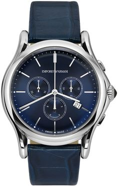 Emporio Armani Swiss Made Quartz Chronograph with Blue Alligator Strap