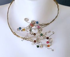 Open front necklace OOAK wirework choker open front by craftysou, $50.00