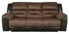 Every day is a good day with the Earhart reclining sofa around. Take a load off and forget your worries as you ease back into the luxurious feel of suede-like fabric. Faux leather covers the outside parts for an elevated look. Need more comfort and support for your body? Cue the deep seating and tall back. Contrast jumbo stitching adds an element of style to the cushions. Sofa Furniture, Living Room Furniture, Homemakers Furniture, Elements Of Style, Reclining Sofa, Furniture Manufacturers, At Home Store, Foam Cushions, Foot Rest