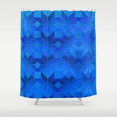 Twilight Shower Curtain by Gréta Thórsdóttir - $68.00  #scandinavian #snowflake #pattern #blue #cobalt #ombre #nightfall #bathroom
