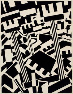 Rotterdam. Woodcut by Edward Wadsworth.