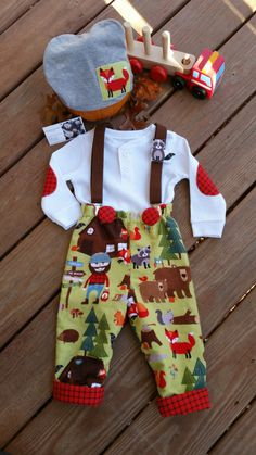 Baby Boys Outfit, Tree Logger, Boys Flannel Pants/trousers, Baby Boy Christmas outfit, Little Boys Fall-Winter Clothing/MYSWEETCHICKAPEA Little