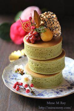Japanese Style Thick Matcha Pancakes 厚焼き抹茶ホットケーキ