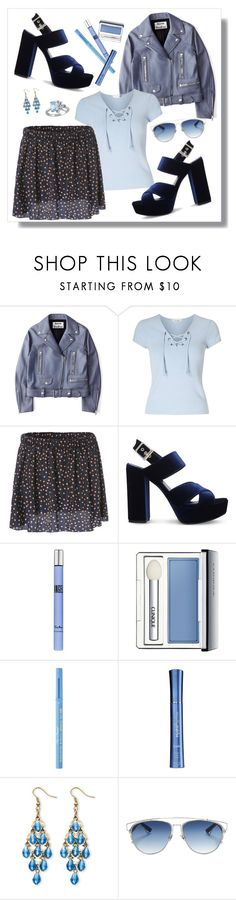 """""""Feeling blue"""" by xkanelx ❤ liked on Polyvore featuring Acne Studios, Miss Selfridge, Carvela, Thierry Mugler, Clinique, Too Faced Cosmetics, HydroPeptide, Palm Beach Jewelry, Christian Dior and Laura Ashley"""