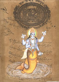 Matsya Art Handmade Vishnu Avatar Hindu God Fish Incarnation Watercolor Painting