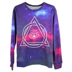 All Seeing Eye Galaxy 1D Print Unisex Sweatshirt (£16) ❤ liked on Polyvore featuring tops, hoodies, sweatshirts, multi, pattern tops, knit tops, galaxy print sweatshirt, galaxy top and purple sweatshirt