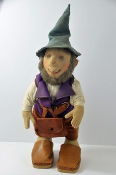 Antique STEIFF SNIK Gnome Rare Ear Button Early 1900s Jointed Body Glass Eyes #Steiff
